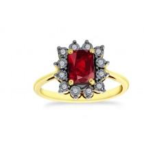 18ct 750 Yellow Gold Ruby Diamond Ring