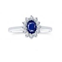 18ct 750 White Gold Sapphire Diamond Ring