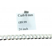 925 Sterling Silver 6mm Wide Flat Curb Chain 24Inches