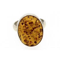 Sterling silver Amber Ring Oval Shape