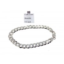 Sterling Silver Curb Link Bracelet Plain 5mmW  L7.5 inch