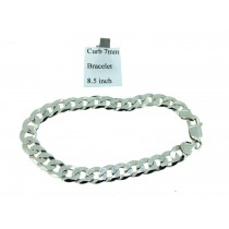 Sterling Silver Mens Curb Link Bracelet Plain 7mmW  L8.5 inch