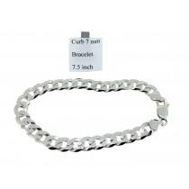 Sterling Silver Mens Curb Link Bracelet Plain 7mmW  L7.5 inch