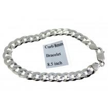 Sterling Silver Mens Curb Link Bracelet Plain 8mmW  L8.5 inch