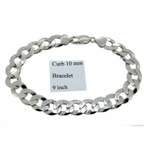 Sterling Silver Mens Curb Link Bracelet Plain 10mmW  L9 inch