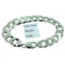 Sterling Silver Mens Curb Link Bracelet Plain 15mmW  L9inch