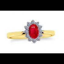 9ct 375 Yellow Gold Ruby Diamond Ring
