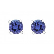 TANZANITE STUDS EARRINGS 2CT IN 950 PLATINUM CLAW SETTINGS