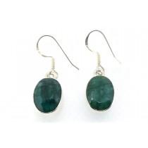 Sterling Silver 925 Oval Emerald Eardrops