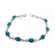 925 Sterling Silver Turquoise Bracelet Oval 8mm*6mm