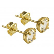 9ct 375 Yellow Gold Birthstone April White Topaz 5mm Studs