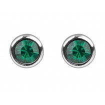 Sterling Silver 925 Birthstone May Emerald 4mm Studs