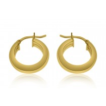 925 Sterling Silver Gold Plated Hoop Earrings 15mm