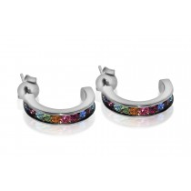925 Sterling Silver Gemstone Hoop type Earrings 14mm