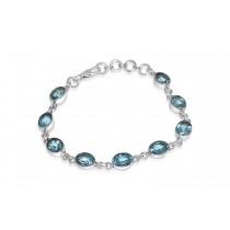 925 Sterling Silver Blue Topaz Bracelet Oval 8mm*6mm