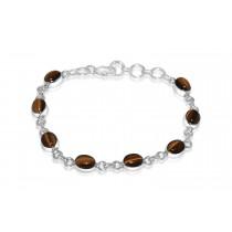 925 Sterling Silver Tiger Eye Bracelet Oval 8mm*6mm