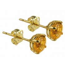 9ct 375 Yellow Gold Birthstone November Yellow Topaz 5mm Studs