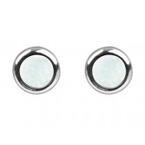 Sterling Silver 925 Birthstone October Opal 4mm Studs