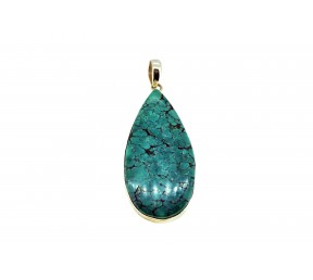 Turquoise Pendant 925 Sterling Silver Pear shape 50-55mm