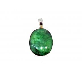 Dried Emerald Cut Stone Pendant 925 Sterling Silver Oval shape 30 to 35mm