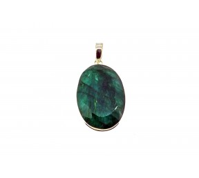 Dried Emerald Cut Stone Pendant 925 Sterling Silver Oval shape small 20mm