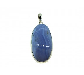 Blue Lace Agate Cabs Pendant 925 Sterling Silver Oval 40mm