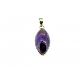 Amethyst Cabochon Stone Pendant 925 Sterling Silver Marquise 30mm