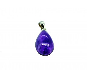 Amethyst Cabochon Stone Pendant 925 Sterling Silver Pear 25mm