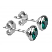 Sterling Silver 925 Birthstone May Emerald 4mm Studs